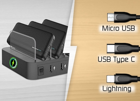 image showing ChargerPoints UK ChargeStation and 3-way cable connectors for Android and Apple