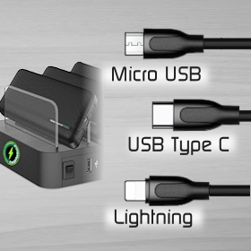 image of chargerpoints Chargestation with 3 way cables for Android and iPhone