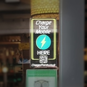 image of chargerpoints sticker in venue window
