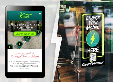 image showing chargerpoints.co.uk mobile website app and window sticker